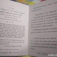 Postales: RECORDATORIO DEFUNCIÓN 1972 VITORIA ALAVA. Lote 141682170