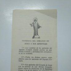 Postales: PROMESAS DEL CORAZON DE JESUS A SUS APOSTOLES. GRANADA 1970. TDKP13. Lote 141893294