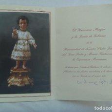 Postales: HERMANDA DE LA ESPERANZA MACARENA : TARJETON FELICITACION DE NAVIDAD , CON FOTO PEGADA. Lote 143516846