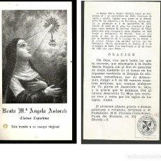 Postales: ESTAMPA BEATA Mª ANGELA ASTORCH CON RELIQUIA, CLARISA CAPUCHINA MURCIA. Lote 143544842