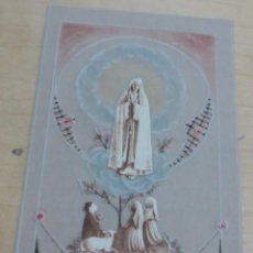 Postales: ESTAMPA RELIGIOSA VIRGEN DE FÁTIMA PAPEL VEGETAL 12X7 CM.. Lote 206210431