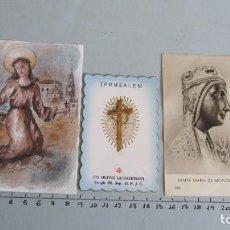 Postales: LOTE CUATRO ESTAMPAS RELIGIOSAS STA. ROSALIA - JERUSALEM - VIRGEN MONTSERRAT - VIRGEN MARIA. Lote 144001674