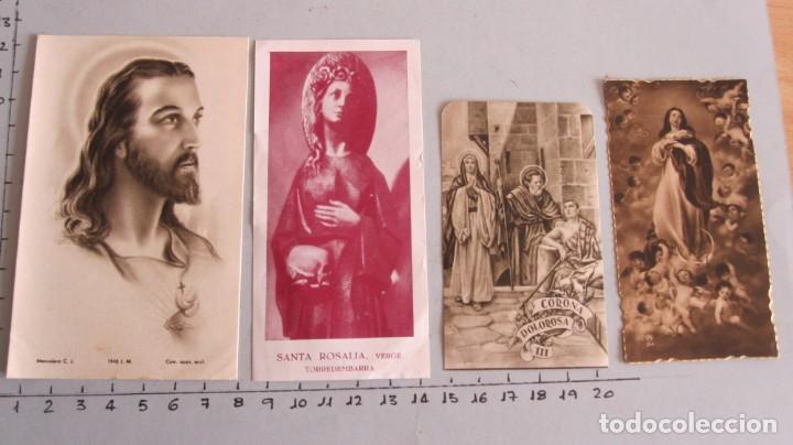 LOTE CUATRO ESTAMPAS RELIGIOSAS SAGRADO CORAZÓN - STA. ROSALIA - CORONA DOLOROSA - VIRGEN MARIA (Postales - Postales Temáticas - Religiosas y Recordatorios)