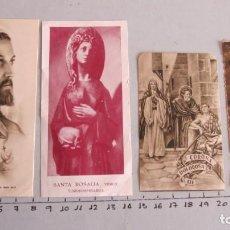 Postales: LOTE CUATRO ESTAMPAS RELIGIOSAS SAGRADO CORAZÓN - STA. ROSALIA - CORONA DOLOROSA - VIRGEN MARIA. Lote 144001762
