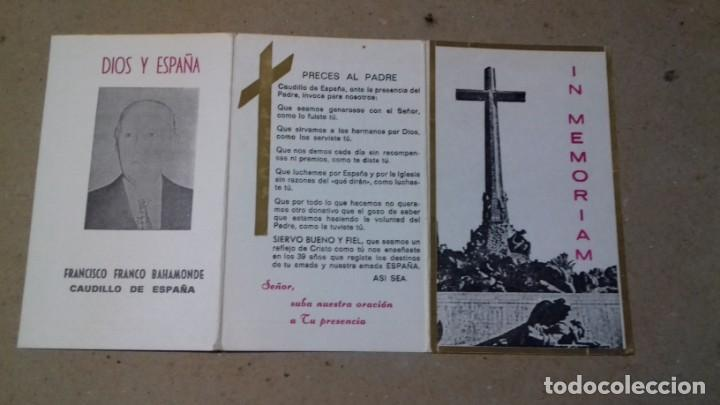 RECORDATORIO IN MEMORIAM DIOS Y ESPAÑA, FRANCISCO FRANCO BAHAMONDE, CAUDILLO DE ESPAÑA (Postales - Postales Temáticas - Religiosas y Recordatorios)