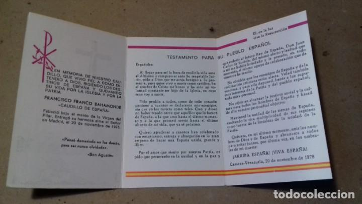 Postales: RECORDATORIO IN MEMORIAM DIOS Y ESPAÑA, FRANCISCO FRANCO BAHAMONDE, CAUDILLO DE ESPAÑA - Foto 2 - 145415814