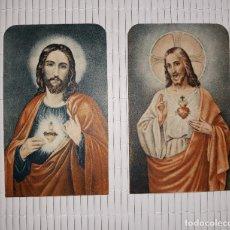 Postales: DOS ESTAMPAS SAGRAT COR DE JESUS DESAGRAVIS PELS QUE PROFANEN EL SEU SANT NOM , SAGRADO CORAZON. Lote 145695722