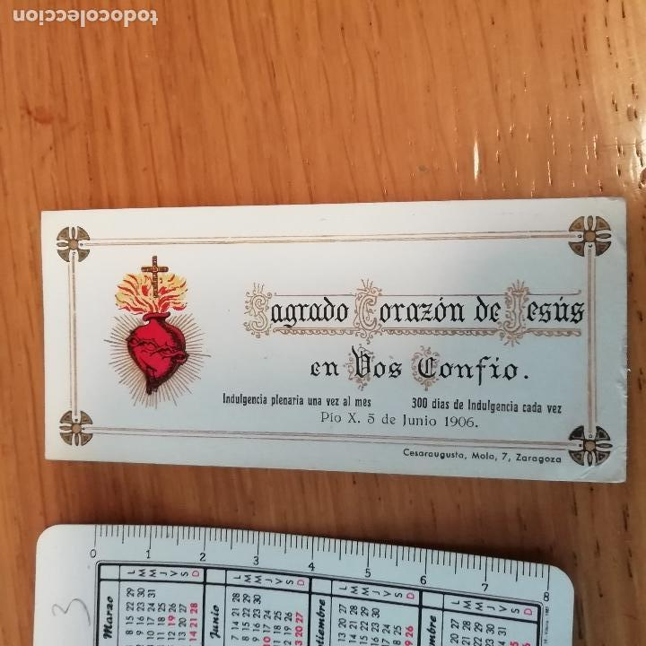 SAGRADO CORAZÓN. ESTAMPA CON INDULGENCIA. 1906 (Postales - Postales Temáticas - Religiosas y Recordatorios)