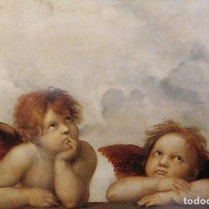 Ángeles Detalle de la Madonna sixtina Angelotes Collezione Arte Raffaello Santi o Sanzio 1483 - 1520