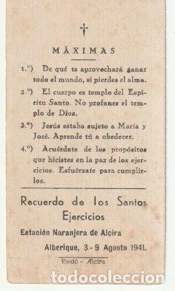 ESTAMPA RECUERDO DE LOS SANTOS EJERCICIOS ESTACION NARANJERA DE ALCIRA - ALBERIQUE 1941 --C-9 (Postales - Postales Temáticas - Religiosas y Recordatorios)