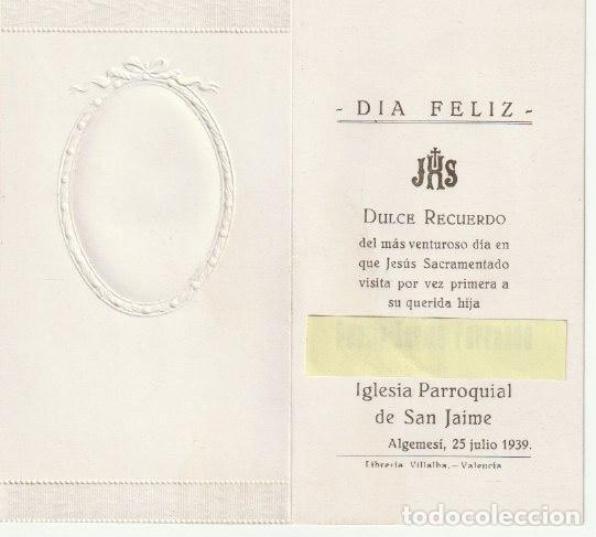ESTAMPA DIPTICO RECUERDO PRIMERA COMUNION IGLESIA PARROQUIAL DE SAN JAIME ALGEMESI 1939 --C-9 (Postales - Postales Temáticas - Religiosas y Recordatorios)