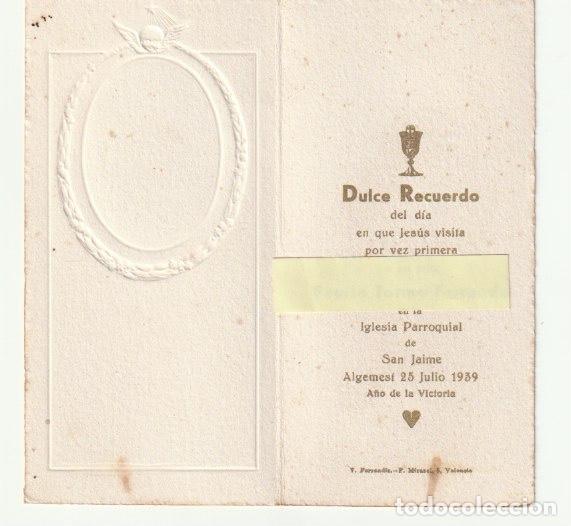ESTAMPA RECUERDO PRIMERA COMUNION IGLESIA PARROQUIAL SAN JAIME ALGEMESI 1939 AÑO DE LA VICTORIA-C-9 (Postales - Postales Temáticas - Religiosas y Recordatorios)