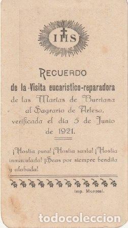ESTAMPA RECUERDO VISITA MARIAS BURRIANA AL SAGRARIO DE ARTESA CASTELLON 1921 -C-9 (Postales - Postales Temáticas - Religiosas y Recordatorios)