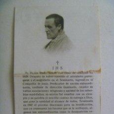 Postales: ESTAMPA RECORDATORIO DEL PADRE RUBIO, FALLECIDO EN 1929 . CON RELIQUIA.. Lote 146627574