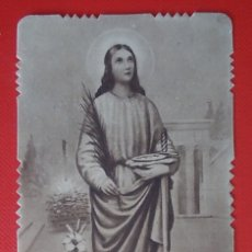 Postales: ESTAMPA RELIGIOSA ANTIGUA SANTA LUCÍA VIDA CASA BAÑERES. Lote 147576113