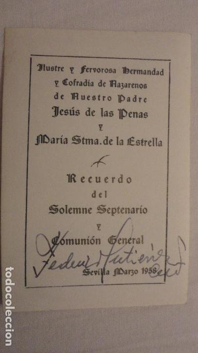 Postales: RECUERDO SOLEMNE SEPTENARIO.VIRGEN DEL LA ESTRELLA.SEVILLA 1958.FOTO ANTONIO. - Foto 2 - 148633914