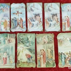 Postales: COLECCION DE 12 ESTAMPAS RELIGIOSAS. CROMOLITOGRAFÍA SOBRE PAPEL. SIGLO XIX-XX. . Lote 148902146