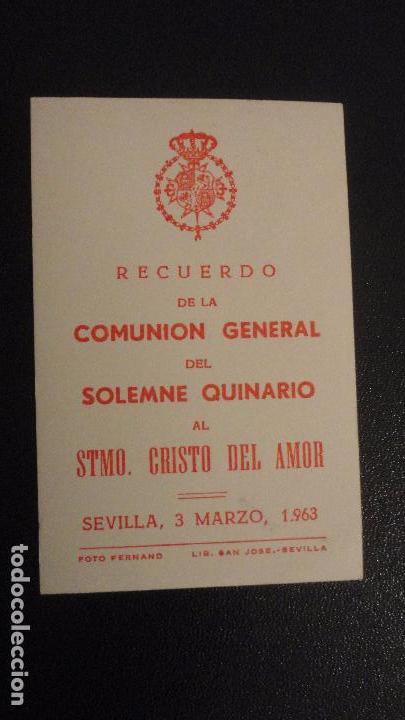 Postales: RECUERDO SOLEMNE QUINARIO.CRISTO DEL AMOR.SEVILLA 1963 FOTO FERNAND. - Foto 3 - 149214362