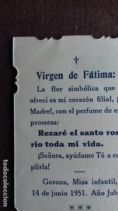 Postales: Estampa/estampita. Nuestra Sra. De Fatima. Gerona. 1951. Año Jubilar. - Foto 7 - 149856294