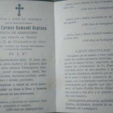 Postales: ESQUELA RECORDATORIO 1931 GAMUNDI AZPIAZU ARANGUREN. Lote 150728126