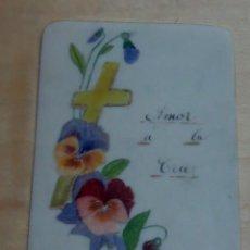 Postales: ESTAMPA RELIGIOSA PINTADA A MANO CELULOIDE 10X7 CM. . Lote 150738846