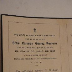 Postales: RECUERDO FUNERAL.STA.CARMEN GOMEZ ROMERO.AZUAGA.BADAJOZ 1937. Lote 152563850