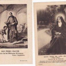 Postales: 2 ESTAMPAS AÑOS 40 SAN PEDRO CLAVER Y SANTA TERESA DEL NIÑO JEÚS . Lote 152569706