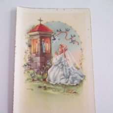 Postales: ESTAMPA RECORDATORIO COMUNION - 1959 - MALAGA - ILUSTRADA POR MARIA ROSA GARCIA M.R.G.. Lote 153528722