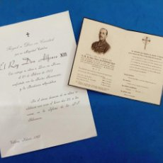 Postales: RECORDATORIO FÚNEBRE DE S.M. EL REY ALFONSO XIII , 1941 Y RECORDATORIO DE MISA DE DIFUNTOS , VILLENA. Lote 153914350