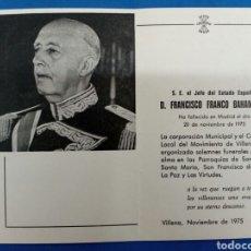 Postales: ESQUELA MORTUORIA , F.FRANCO ,1975 ,VILLENA. Lote 153937914