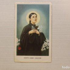 Postales: ESTAMPA DE SANTA GEMA GALGANI CON RELIQUIA, 11,50X7 CM. Lote 154176158