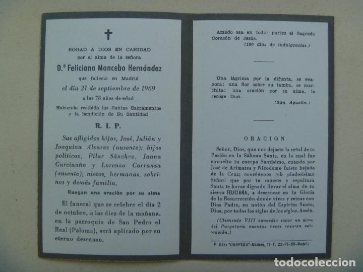 Postales: RECORDATORIO DE SEÑORA FALLECIDA EN MADRID. 1969 - Foto 2 - 154479802