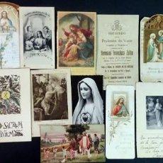 Postales: LOTE DE 19 ESTAMPAS RELIGIOSAS ANTIGUAS , PRIMERA COMUNIÓN, VER FOTOS. Lote 155099598