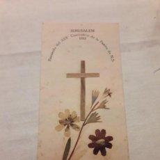 Postales: ANTIGUO RECORDATORIO JERUSALÉN 1933 HECHO CON MADERA DE OLIVO DE GETHSEMANI. Lote 156403822