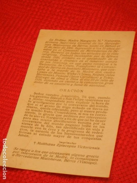Postales: ESTAMPA MADRE MARGARITA Mª MATURANA, MERCEDARIAS MISIONERAS DE BERRIZ - Foto 2 - 158687402