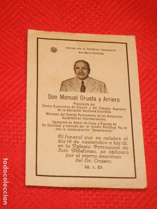 RECORDATORIO MANUEL ORUETA Y ARRIERO, PRESIDENTE ADORACION NOCTURNA ESPAÑOLA 1944 (Postales - Postales Temáticas - Religiosas y Recordatorios)