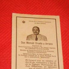 Postales: RECORDATORIO MANUEL ORUETA Y ARRIERO, PRESIDENTE ADORACION NOCTURNA ESPAÑOLA 1944. Lote 158687570