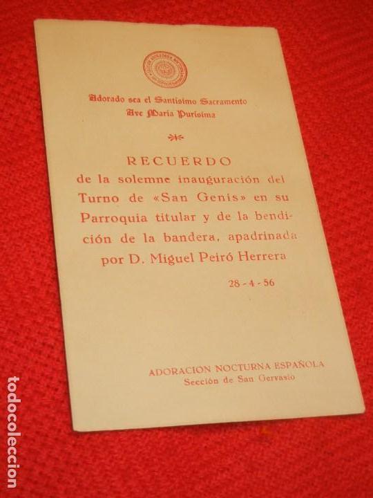 Postales: RECUERDO INAUGURACION TURNO SAN GENIS ADORACION NOCTURNA, BARCELONA 1956 - Foto 2 - 158687822