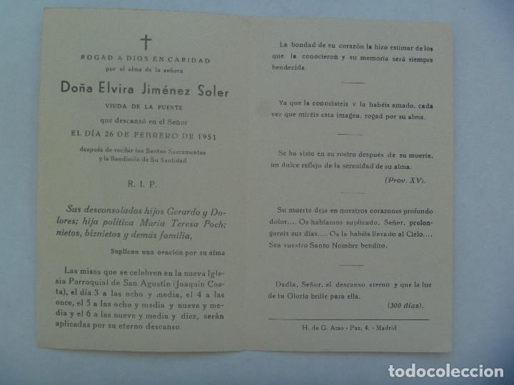 Postales: RECORDATORIO DE SEÑORA VIUDA FALLECIDA EN 1951 . MADRID - Foto 2 - 158918378