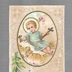 Postales: ESTAMPITA RELIGIOSA. NIÑO JESUS EN LA CUNA CON CRUZ Y TRES CLAVOS. Lote 159213678