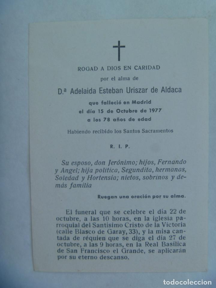Postales: RECORDATORIO DE SEÑORA FALLECIDA EN MADRID EN 1977 - Foto 2 - 161478114