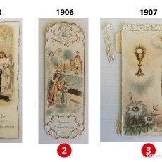 Postales: LOTE 3 ESTAMPAS RECUERDO DE LA PRIMERA COMUNIÓN – VALENCIA – AÑOS 1903, 1906 Y 1907. Lote 161491818