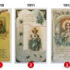 Postales: LOTE 3 ESTAMPAS RECUERDO DE LA PRIMERA COMUNIÓN – VALENCIA – AÑOS 1910, 1911 Y 1912. Lote 161586386