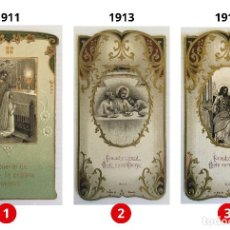 Postales: LOTE 3 ESTAMPAS RECUERDO DE LA PRIMERA COMUNIÓN – VALENCIA – AÑOS 1911, 1913 Y 1914. Lote 161703726