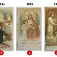Postales: LOTE 3 ESTAMPAS RECUERDO DE LA PRIMERA COMUNIÓN – VALENCIA – AÑOS 1914, 1915 Y 1917. Lote 161718358