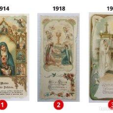 Postales: LOTE 3 ESTAMPAS RECUERDO DE LA PRIMERA COMUNIÓN – VALENCIA – AÑOS 1914, 1918 Y 1921. Lote 161826018