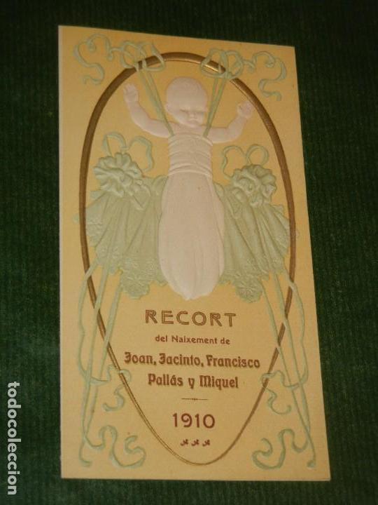 RECUERDO MODERNISTA NACIMIENTO - BARCELONA 1910 (Postales - Postales Temáticas - Religiosas y Recordatorios)