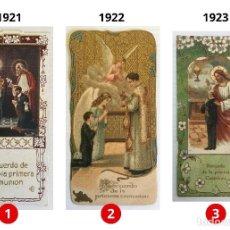 Postales: LOTE 3 ESTAMPAS RECUERDO DE LA PRIMERA COMUNIÓN – VALENCIA – AÑOS 1921, 1922 Y 1923. Lote 162557338