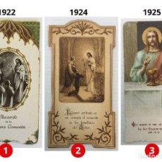 Postales: LOTE 3 ESTAMPAS RECUERDO DE LA PRIMERA COMUNIÓN – VALENCIA – AÑOS 1922, 1924 Y 1925. Lote 162563234