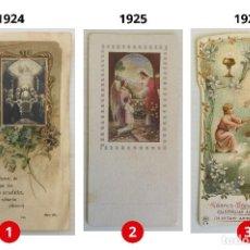 Postales: LOTE 3 ESTAMPAS RECUERDO DE LA PRIMERA COMUNIÓN – VALENCIA – AÑOS 1924, 1925 Y 1926 – BOUMARD FILS. Lote 162570018